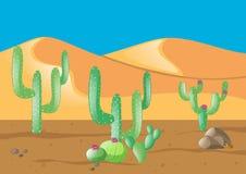 Scène avec le cactus dans le domaine de désert illustration stock