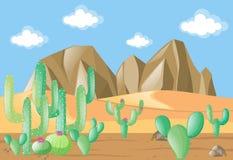 Scène avec le cactus sur le désert illustration libre de droits