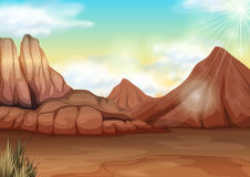 Scène avec le champ du désert Photos libres de droits