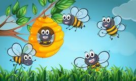Scène avec les abeilles et la ruche illustration libre de droits