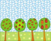 Scène avec les arbres décoratifs Photographie stock libre de droits