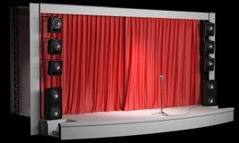 Scène avec un rideau rouge et des haut-parleurs acoustiques Images stock