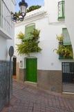 Scène blanche de rue de village, Espagne Images libres de droits