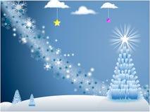Scène blanche de vacances avec des flocons de neige et Noël Photographie stock libre de droits