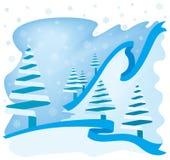 Scène bleue de l'hiver Photo stock