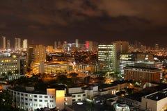 scène célèbre du centre de nuit de Miami Photographie stock libre de droits