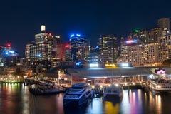 Scène chérie de nuit de port Photo libre de droits