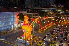 Scène 2017 chinoise de nuit de nouvelle année de Singapour Chinatown Photographie stock libre de droits