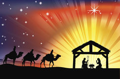Scène chrétienne de nativité de Noël Images libres de droits