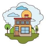 Scène colorée de maison de campagne avec deux planchers et de cheminée dans le jour ensoleillé Images stock