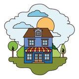 Scène colorée de maison de campagne avec deux planchers et de parasol dans le jour ensoleillé Images libres de droits