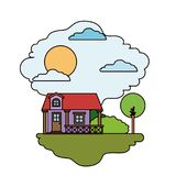 Scène colorée de maison de campagne avec la balustrade dans le jour ensoleillé Image libre de droits