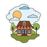Scène colorée de maison de campagne avec le grenier et de parasol dans le jour ensoleillé Photographie stock libre de droits