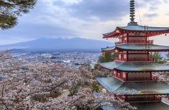 Scène crépusculaire de pagoda de Chureito avec le fond de Mt.fuji Photographie stock libre de droits