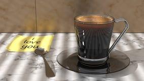 Scène démodée de matin : machine à écrire antique, cuvette de café frais, contrat d'affaires et crayon lecteur Images libres de droits