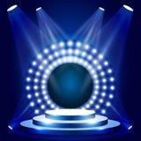 Scène d'émission de TV avec le cercle des lumières - podium pour la récompense illustration de vecteur