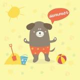 Scène d'été avec un chien de bande dessinée Image libre de droits