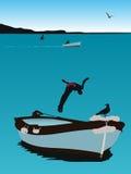 Scène d'été, branchant d'un bateau illustration de vecteur
