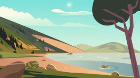 Scène d'été de paysage illustration libre de droits