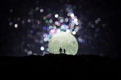 Scène d'amour étonnante Silhouettes de jeunes couples romantiques se tenant sous la lumière de lune illustration libre de droits