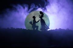Scène d'amour étonnante Silhouettes de l'homme faisant la proposition à la femme ou silhouettes des couples contre la grande lune illustration stock