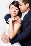 Scène d'amour asiatique de marié de jeune mariée Photos libres de droits