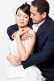Scène d'amour asiatique de marié de jeune mariée Photos stock