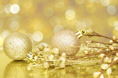 Scène d'or de Noël Photographie stock