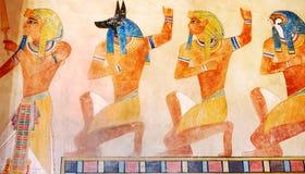 Scène d'Egypte antique, mythologie Dieux et pharaons égyptiens Hier image libre de droits