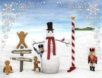 Scène d'hiver avec des figurines Photo libre de droits
