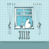 Scène d'hiver avec le chat mignon sur la fenêtre avec une tasse de thé et un oiseau en dehors de la fenêtre illustration stock