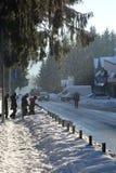Scène d'hiver dans la station de sports d'hiver Photo stock
