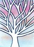 Scène d'hiver de conte de fées de peinture d'aquarelle avec la neige Image stock