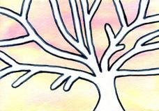 Scène d'hiver de conte de fées de peinture d'aquarelle avec la neige Image libre de droits