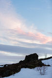 Scène d'hiver de Milou en Scandinavie Photos stock