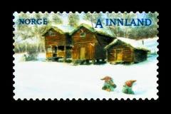 Scène d'hiver de Noël, fermes, vers 2008 Photographie stock