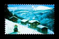 Scène d'hiver de Noël, fermes, vers 2008 Photo stock