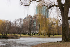 Scène d'hiver des terrains communaux de Boston à Boston, le Massachusetts Image libre de droits