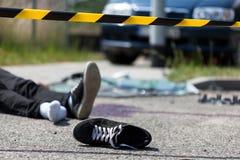 Scène d'un accident de voiture Photo stock