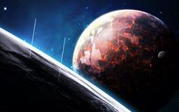 Scène d'univers avec des planètes, des étoiles et des galaxies dans l'espace extra-atmosphérique montrant la beauté de l'explorat Images stock