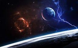 Scène d'univers avec des planètes, des étoiles et des galaxies dans l'espace extra-atmosphérique montrant la beauté de l'explorat Photos stock
