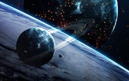 Scène d'univers avec des planètes, des étoiles et des galaxies dans l'espace extra-atmosphérique montrant la beauté de l'explorat Image stock