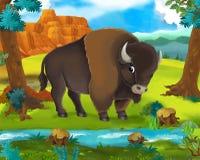 Scène de bande dessinée - animaux sauvages de l'Afrique - buffle illustration de vecteur