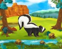 Scène de bande dessinée - animaux sauvages de l'Amérique - mouffette illustration libre de droits