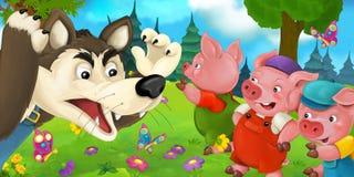 Scène de bande dessinée avec des certains porcs et loup Images stock