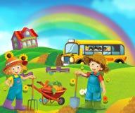 Scène de bande dessinée avec des enfants à la ferme ayant l'amusement et l'autobus scolaire Photos stock