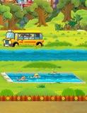 Scène de bande dessinée avec des enfants nageant dans une formation de piscine Images stock