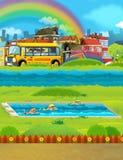 Scène de bande dessinée avec des enfants nageant dans une formation de piscine Photos stock