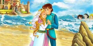 Scène de bande dessinée avec des paires affectueuses par la mer et le beau château - près de quelques sirènes dans l'eau Photographie stock