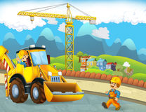 Scène de bande dessinée avec des travailleurs de la construction - excavatrice - illustration pour les enfants Image stock